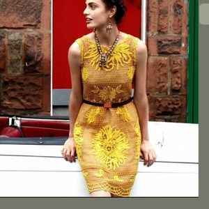 ANTHROPOLOGIE Yoana Baraschi Yellow Lace Dress